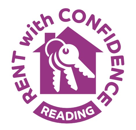 Reading Rent with Confidence scheme logo - 3 tier house in gold, silver and gold with keys
