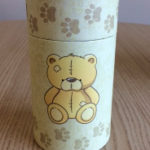 Baby Scatter Tube for ashes, with a teddy bear