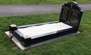 Traditional grave with memorial