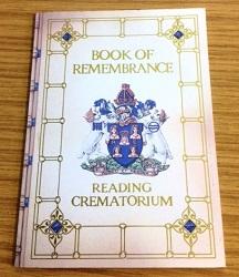 Memorial card at Reading crematorium