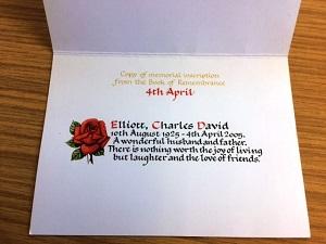 Inside memorial card at Reading crematorium