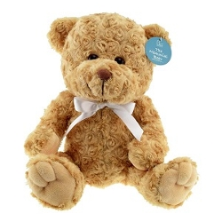 Memorial teddy bear with white bow