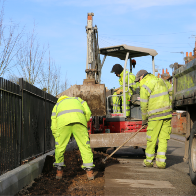 Reading Borough Council groundworks engineers operating a digger
