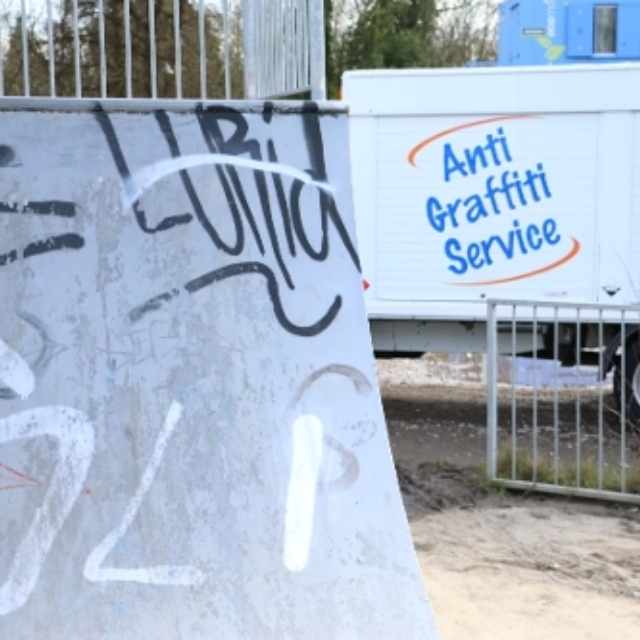 Graffiti about to be removed by the commercial services team
