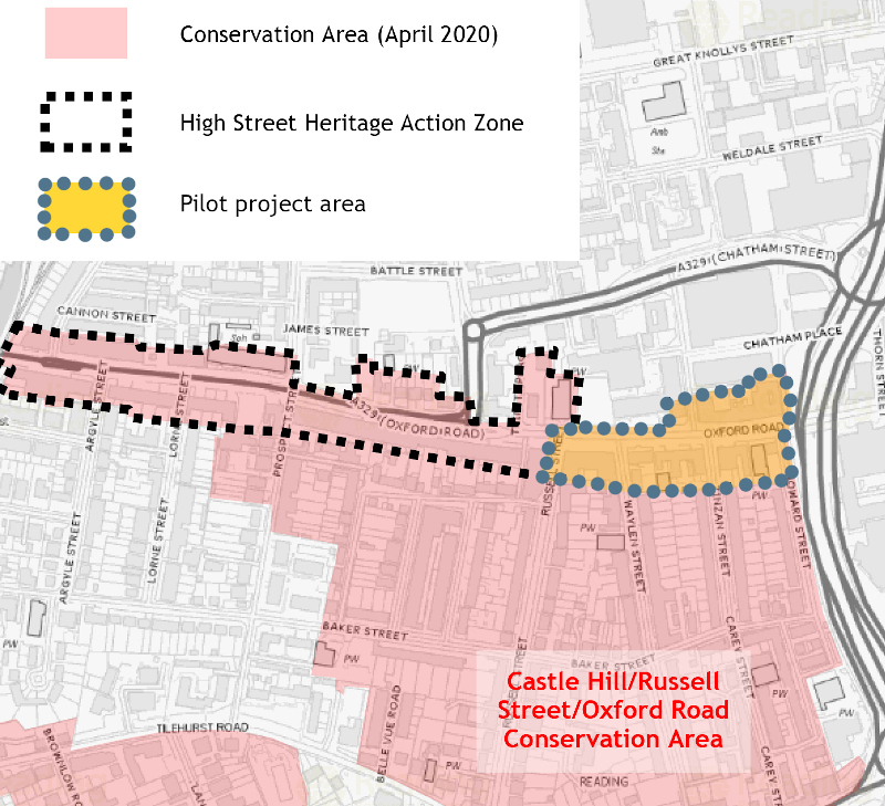 This map shows the Castle Hill/Russell Street/Oxford Road conservation area, the High Street Heritage Action Zone and the pilot project area (specifically the East end of Oxford Road, from Howard Street to Russel Street).
