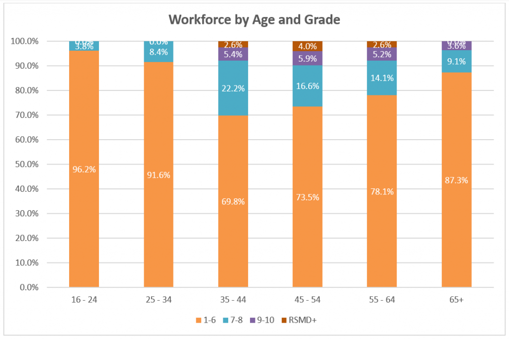 Graph showing Reading Borough Council staff grouped by age and pay grade. The pay grades of staff aged under 35 are lower than the older age groups, up to age 64.