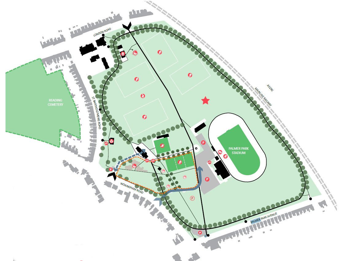 Analysis diagram of Palmer Park showing vehicular routes, pedestrian and cycle routes, entrances, buildings, sports areas, car parks, play areas and other facilities located in Palmer Park.