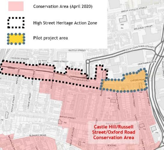 Map of Castle Hill/Russell Street/Oxford Road Conservation Area