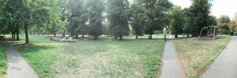 View of play space and mature lime tree avenue, Palmer Park