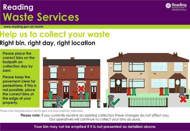 Help us to collect your waste. Right bin, right day, right location. Please place the correct bins on the footpath on collection day by 6am. Please keep the pavement clear for pedestrians. If this is not possible, place the correct bins at the edge of your property. Please note, if you currently receive an assisted collection these changes do not affect you. Our operatives will continue to collect your bins as usual.