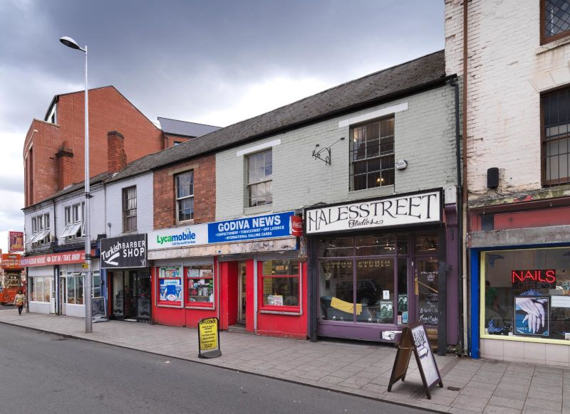 Coventry HSHAZ regeneration work to shop fronts - before