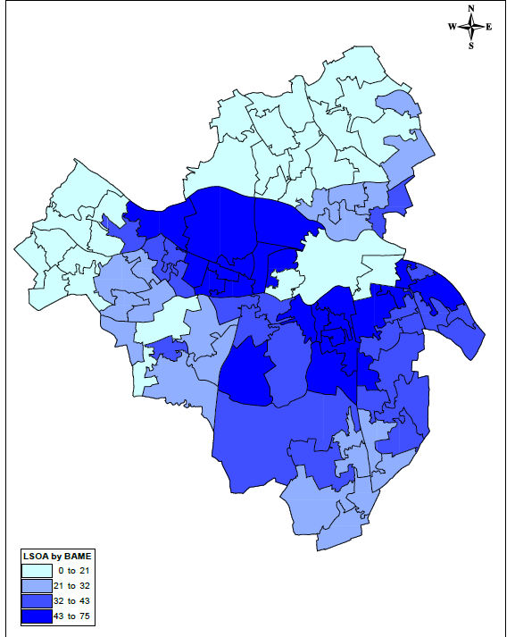 Map showing percentage of BAME population in Reading