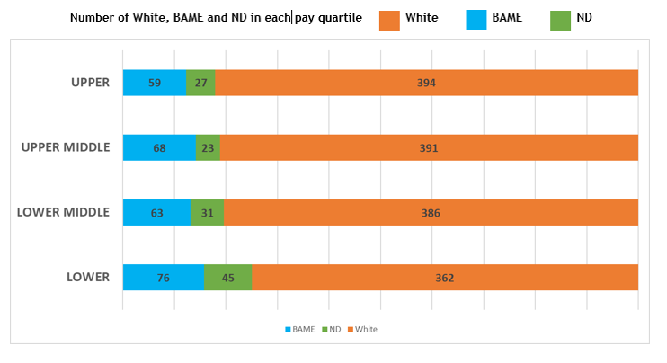 Shows number of white, BAME and not declared employees in each pay quartile. Upper - 59 BAME, 27 not declared, 394 white Upper middle - 68 BAME, 23 not declared, 391 white Lower middle - 63 BAME, 31 not declared, 386 white Lower - 76 BAME, 45 not declared, 362 white