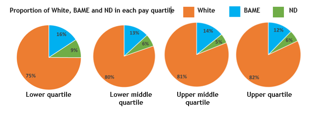 Shows proportion of white, BAME and non declared in each pay quartile. Lower quartile: 75% while, 16% BAME, 9% not declared Lower middle quartile: 80% white, 13% BAME, 6% not declared Upper middle quartile: 81% white, 14% BAME, 5% not declared Upper quartile: 82% white, 12% BAME, 6% not declared