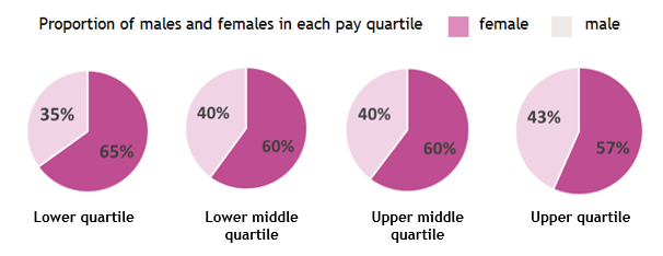 Shows proportions of males and females in each pay quartile. Lower quartile: 35% male, 65% female Lower middle quartile: 40% male, 60% female Upper middle quartile: 40% male, 60% female Upper quartile: 43% male, 57% female