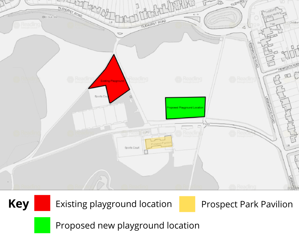 map of prospect park showing where the new playground will be.
