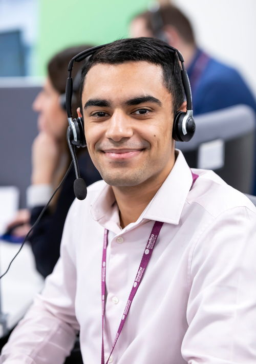 Customer services agent at Reading Borough Council, with headset