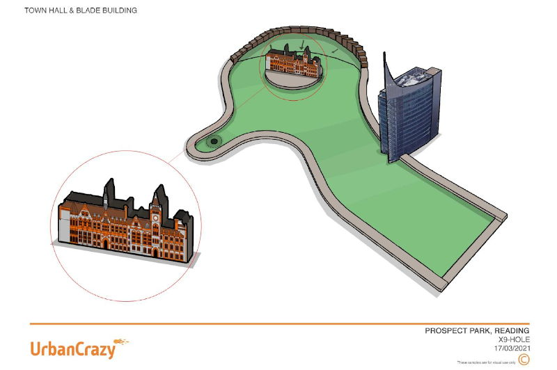 Mini golf course design featuring mini models of the town hall and the Blade.