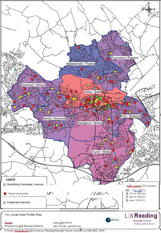 Map showing location of gambling premises