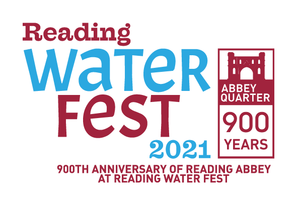 Poster saying 'Reading Water Fest 2021. 900th anniversary of Reading Abbey at Reading Water Fest'.