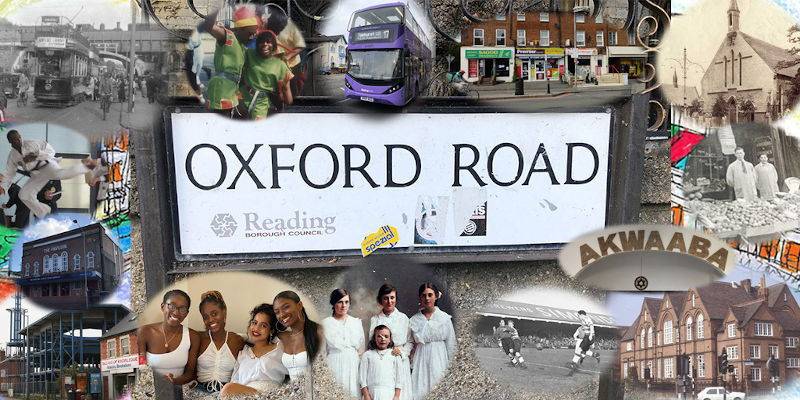 Montage of images from Oxford Road in Reading, including the street sign, buildings and residents.