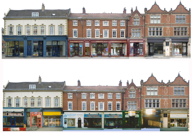 Wardwick, Derby – before and after photographs of building regeneration work
