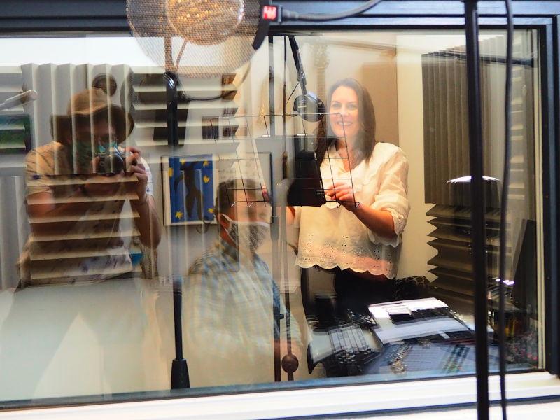 Caroline Bishop of Baker Street Productions in a studio
