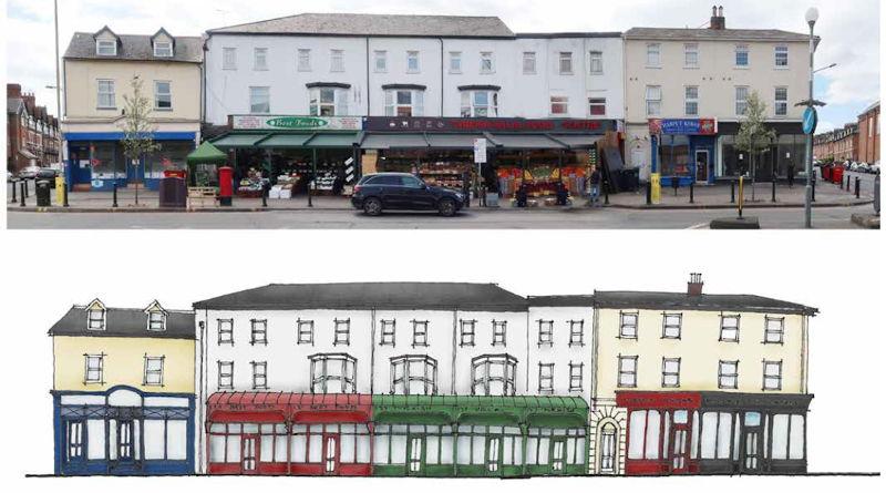 Artist interpretation of potential shop front improvements on Oxford Road