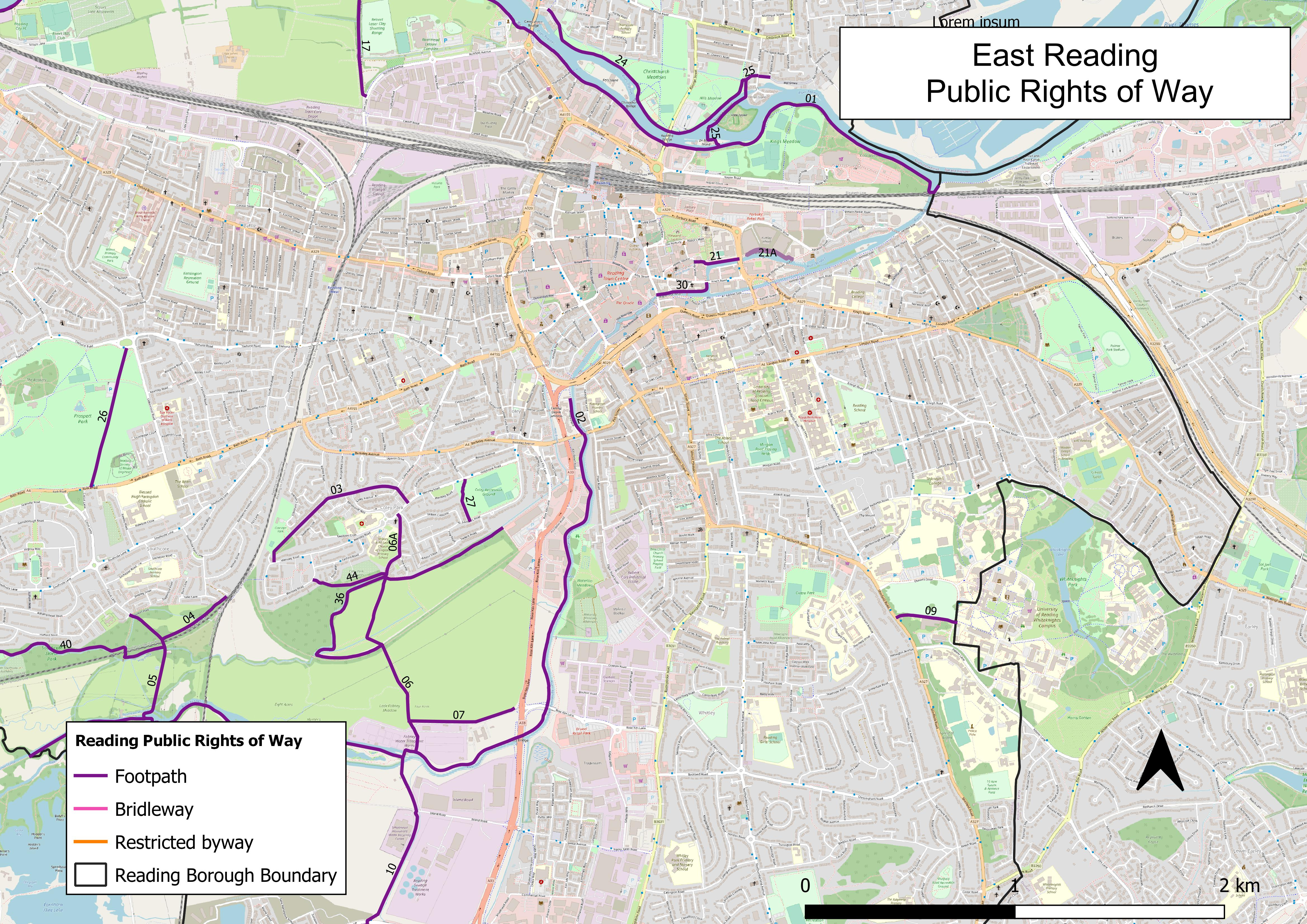 Map of public rights of way in East Reading