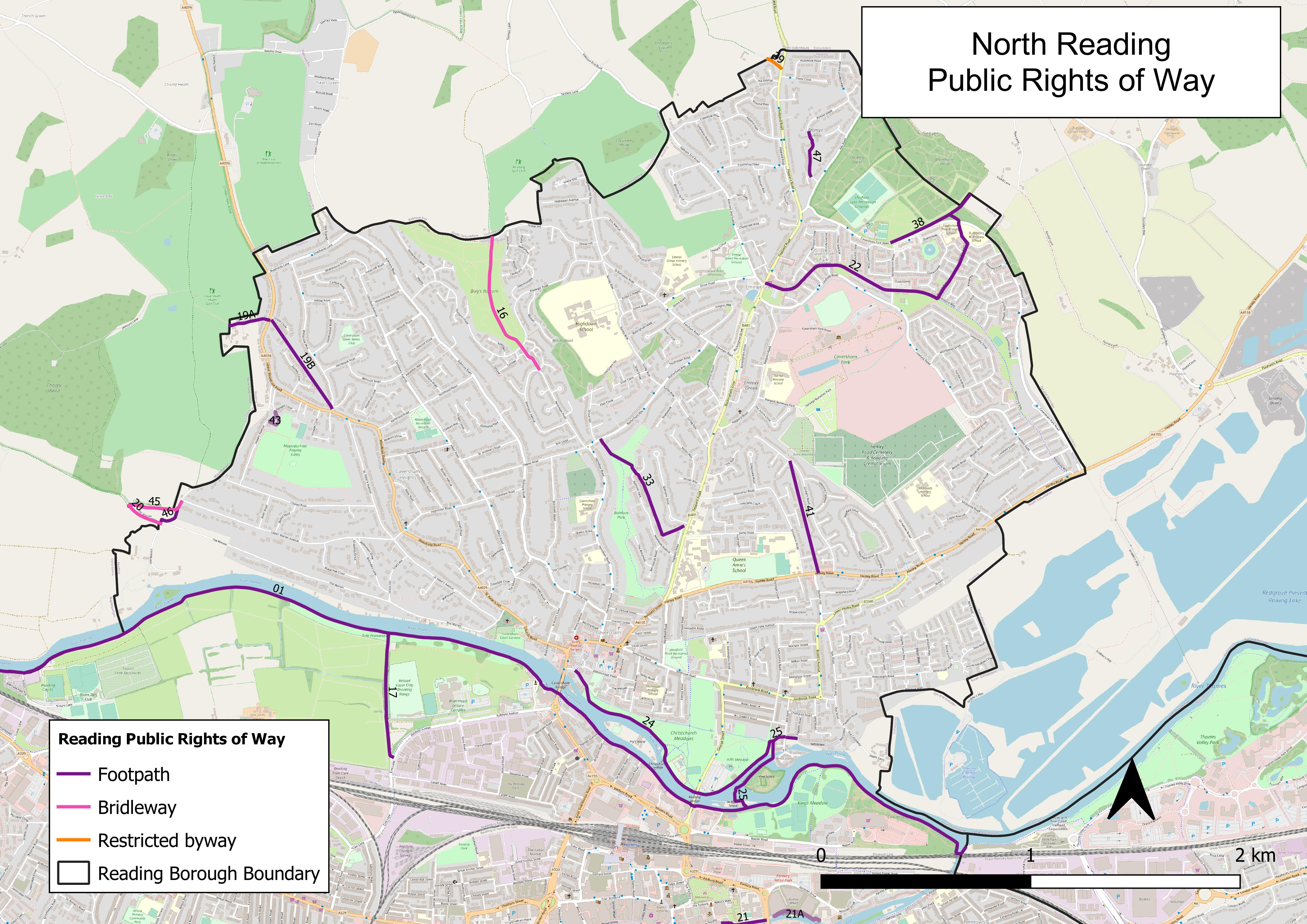 Map of public rights of way in North Reading