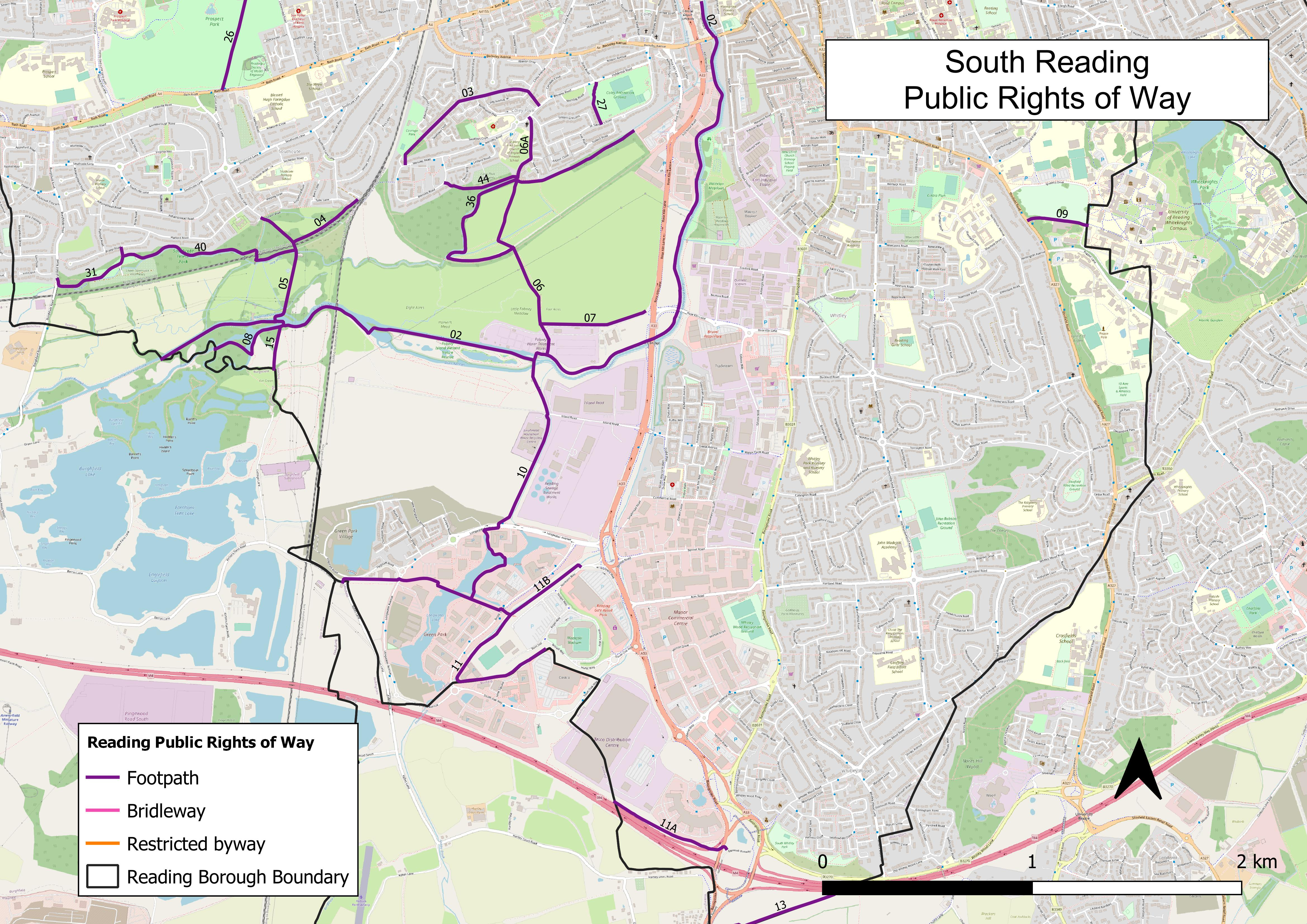 Map of public rights of way in South Reading