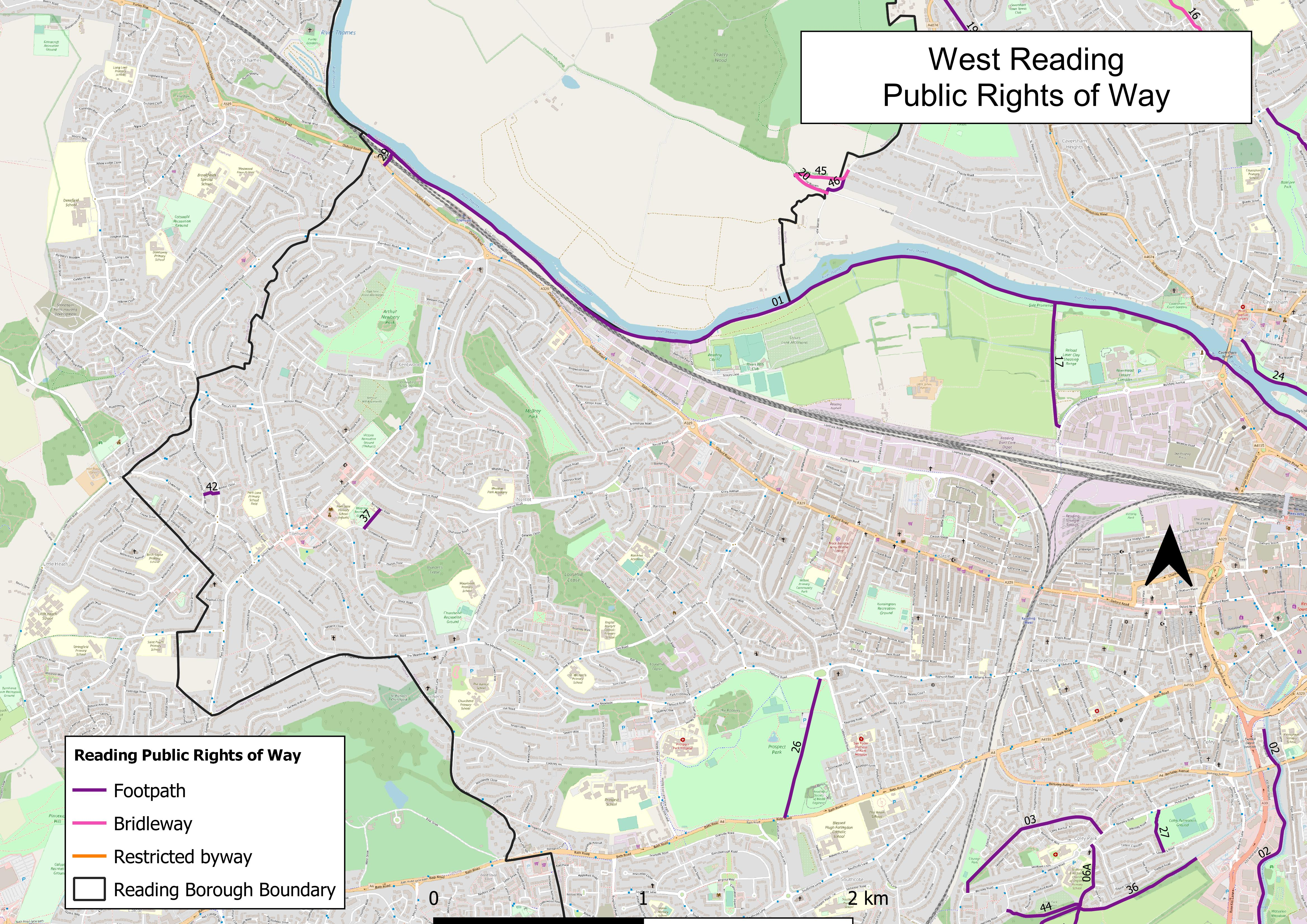 Map of public rights of way in West Reading