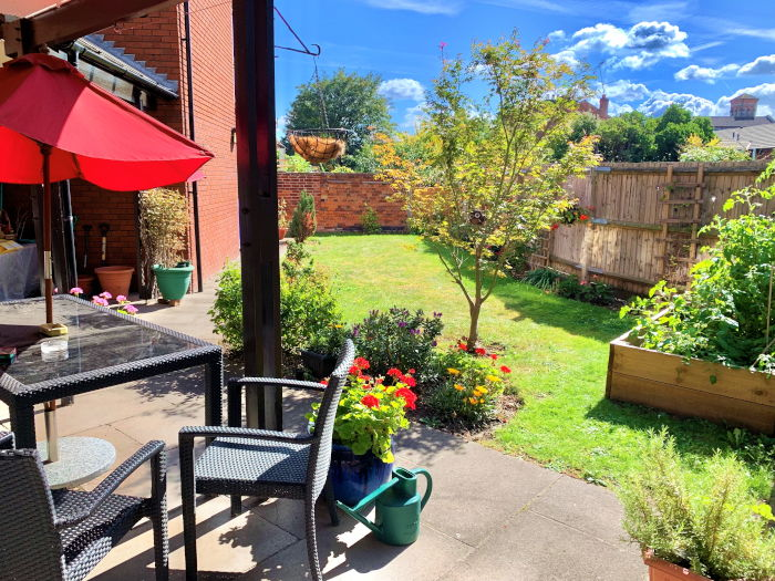 St Stephens Court sheltered housing outdoor dining area