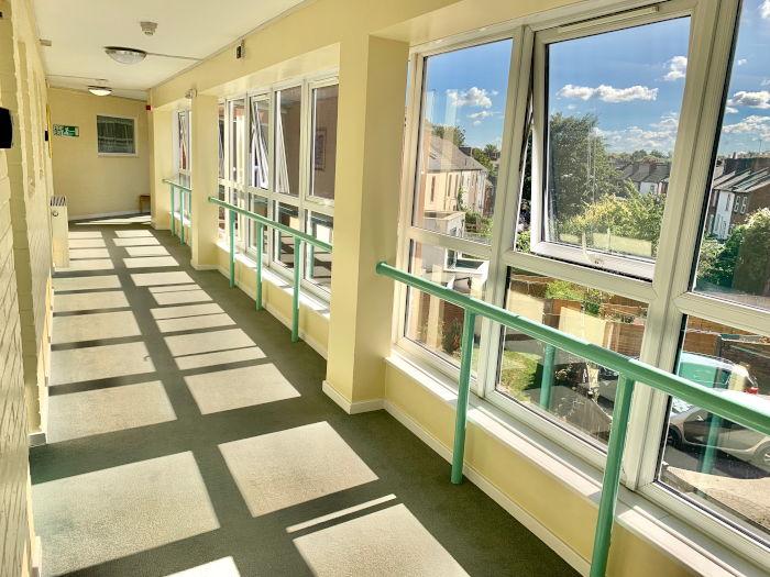 St Stephens Court sheltered housing hallway