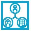 icon showing three circles connected, one circle has a person, another a house, another a larger building